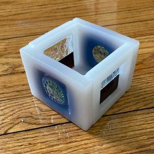 Handmade glass & wax blue & white candle votive